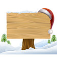 christmas santa hat snow sign vector image vector image