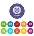 clutch disc icons set color vector image
