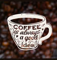 coffee is always a good idea on blurred unfocused vector image