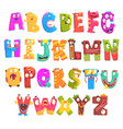 colorful cartoon children english alphabet with vector image
