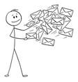conceptual cartoon man postman or businessman vector image vector image