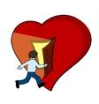 Creative of a heart with open door vector image