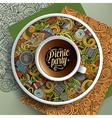cup coffee and hand drawn picnic doodles vector image