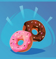 donut with pink and chocolate glaze sweet food vector image