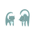 doodle set with trendy grey cat in line art style vector image