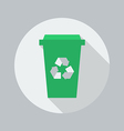 Eco Flat Icon Recycle Bin vector image