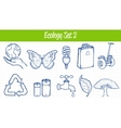 Ecology icons set Hand drawn vector image