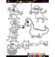 fantasy set cartoon coloring page vector image vector image