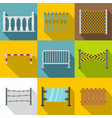 fence design element icon set flat style vector image vector image