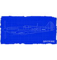 fighter plane blueprint vector image vector image