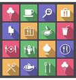 food and drink icons in flat design vector image vector image