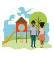 friendly black teenagers couple at the amusement vector image