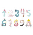 funny cute princess numbers colorful vector image vector image
