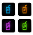 glowing neon soda can with drinking straw icon vector image vector image