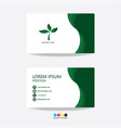 green nature business card template design green vector image