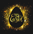 greeting card with egg on a black background with vector image