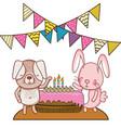 happy birthday cute animals vector image