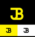 j and b monogram consist yellow letters vector image vector image