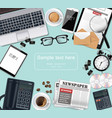 laptop and office supplies desk realistic vector image vector image