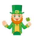 leprechaun saint patrick character day celebration vector image