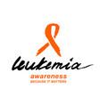 leukemia lettering image vector image