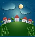 night landscape with village and meadow background vector image