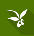 olive icon with a long shadow vector image vector image
