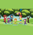 park scene with children running in the rain vector image vector image