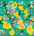 pattern with cute big fish in green color vector image vector image