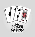 poker casino card clover club bet risk concept vector image