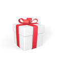 realistic gift box with red bow isolated on white vector image