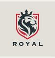 royal lion shield logo vector image