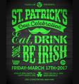 saint patricks day celebration poster design eat vector image vector image