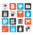 Silhouette Wine industry objects icons vector image