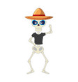 skeleton mexican with hat vector image