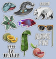 stickers set exotic objects travel concept vector image vector image