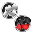 suits of playing cards in a silver circle vector image vector image