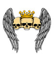three skull with crown and wings for the vector image