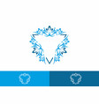 triangle shape with ornament blue vector image vector image