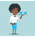 waitress holding tray with cups of coffeee or tea vector image vector image