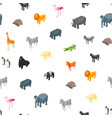 wild animals 3d seamless pattern background vector image