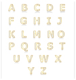 White and gold alphabet set a to z vector image