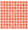 100 hand icons set grunge orange vector image vector image