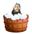A barrel with a penguin vector image vector image