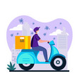 a courier guy in mask and gloves rides vector image vector image