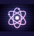 atom chemistry outline icon in neon style vector image