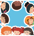 border template with happy boys and girls vector image