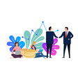 businessmen and woman shake hands business vector image