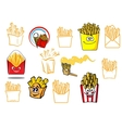 Cartoon french fries takeaway food designs vector image vector image