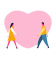 cartoon romantic boy and girl for love and vector image vector image